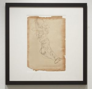 Phil  Hale -  <strong>Study for Live Wants to Live</strong> (2014<strong style = 'color:#635a27'></strong>)<bR /> (16),   collaged pencil on re-purposed prints,   18.5 x 13 inches  (46.99 x 33.02 cm)  24 x 24 inches, framed