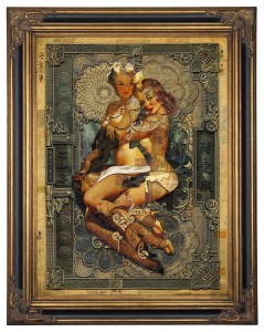Handiedan     -  <strong>Amphitrite</strong> (2015<strong style = 'color:#635a27'></strong>)<bR /> print, collage and pen with matte varnish in ornamental frame,   47.25 x 35.5 inches  (120 x 90 cm)  59 x 46.5 inches, framed