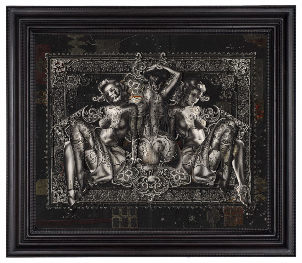 Handiedan   -  <strong>Centauri</strong> (2015<strong style = 'color:#635a27'></strong>)<bR /> print, collage and pen with matte varnish on wooden panel in ornamental frame,   31.5 x 37.5 inches  (80 x 95 cm)  40.5 x 46.5 inches, framed