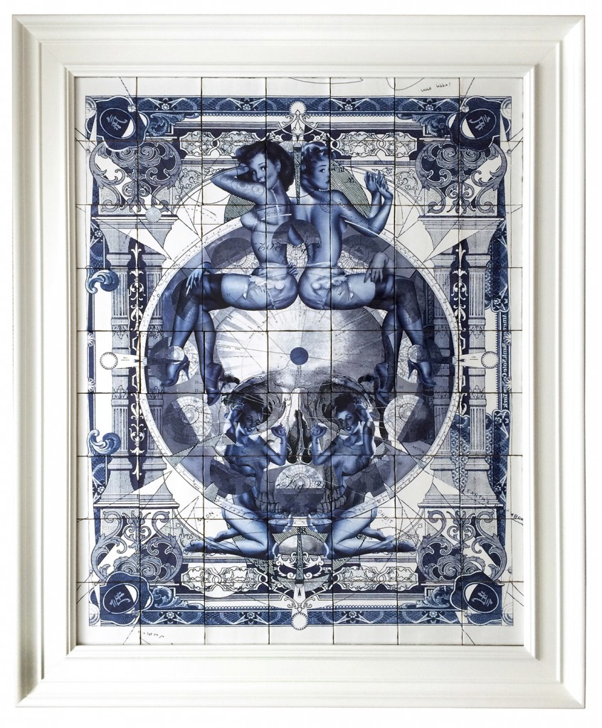 Handiedan     -  <strong>Parallax Delfs Blue</strong> (2015<strong style = 'color:#635a27'></strong>)<bR /> burned/baked print on 63 ceramic tiles in ornamental frame,   46 x 25.75 inches  (117 x 91 cm)  55 x 45.25 inches, framed  edition 1 of 1
