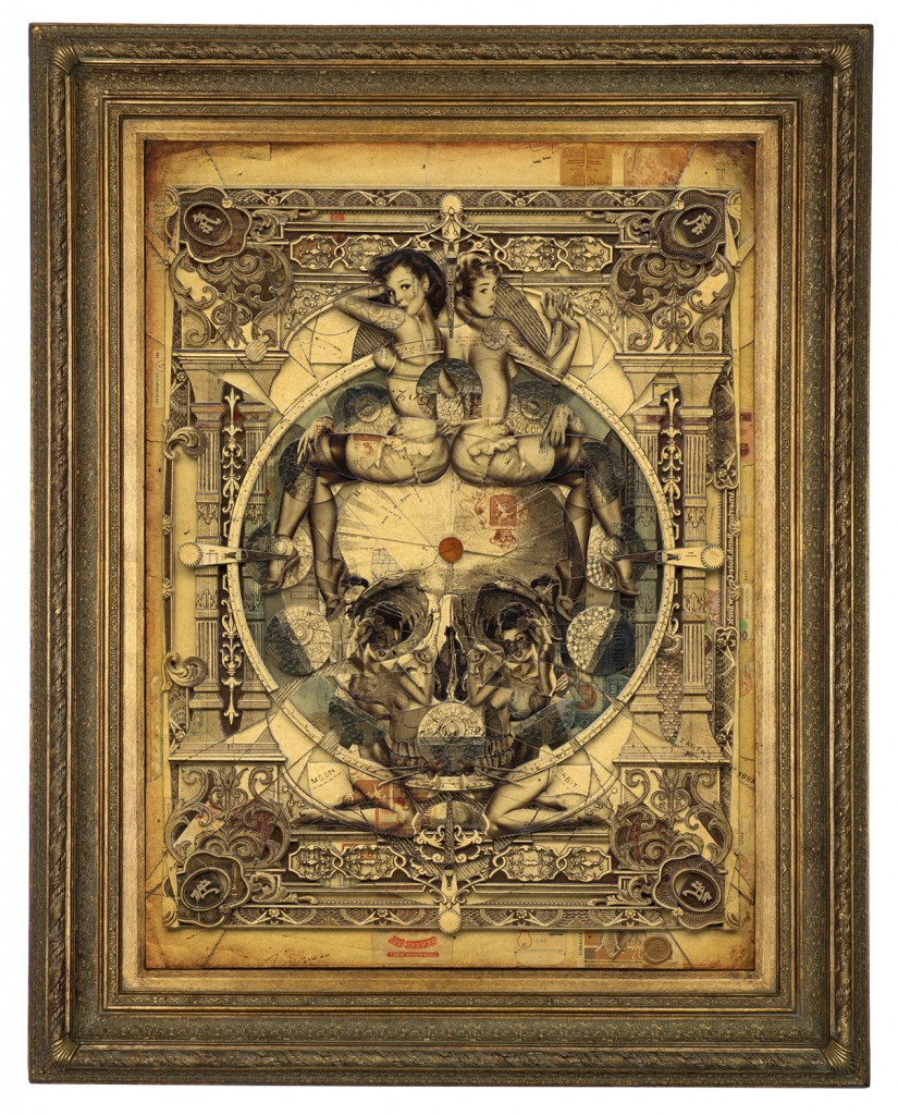 Handiedan   -  <strong>Parallax</strong> (2015<strong style = 'color:#635a27'></strong>)<bR /> print, collage and pen with matte varnish on wooden panel in ornamental frame,   39.25 x 29.25 inches  (100 x 74 cm)  49.5 x 39.75 inches, framed