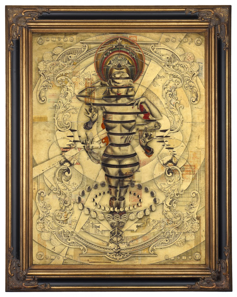Handiedan     -  <strong>Tetrade</strong> (2015<strong style = 'color:#635a27'></strong>)<bR /> print, collage and pen with matte varnish on dibond in ornamental frame,   47.25 x 35.5 inches  (120 x 90 cm)  59 x 46.5 inches, framed