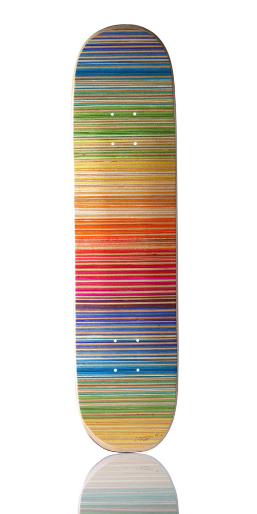Haroshi  &nbsp -  <strong>100% Skateboarder Gradation</strong> (2012<strong style = 'color:#635a27'></strong>)<bR /> used skateboards (underlying deck may vary in shape, size and condition),   31.5 x 7.87 inches  (80 x 20 cm),   S/N edition of 100