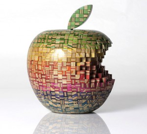 Haroshi   -  <strong>Big Apple</strong> (2011<strong style = 'color:#635a27'></strong>)<bR /> used skateboards,   9.45 x 8.27 x 8.27 inches  (24 x 21 x 21 cm)