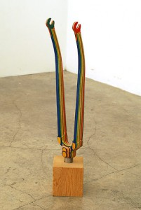 Haroshi  &nbsp -  <strong>Kick Front Fork (Blue)</strong> (2007<strong style = 'color:#635a27'></strong>)<bR /> used skateboards,   19.5 x 4.5 x 3.375 inches  (49.53 x 11.43 x 8.57 cm)