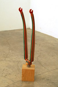 Haroshi   -  <strong>Kick Front Fork (Green)</strong> (2007<strong style = 'color:#635a27'></strong>)<bR /> used skateboards,   19.5 x 4.5 x 3.375 inches  (49.53 x 11.43 x 8.57 cm)