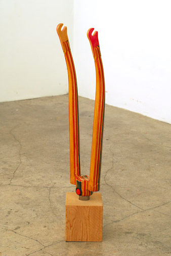 Haroshi -  <strong>Kick Front Fork Yellow </strong> (2007<strong style = 'color:#635a27'></strong>)<bR /> recycled skateboards, 19.5 x 4.5 x 3.37 inches, (49.53 x 11.43 x 8.55 cm)