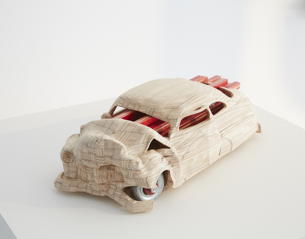 Haroshi  &nbsp -  <strong>Car Crash</strong> (2015<strong style = 'color:#635a27'></strong>)<bR /> used skateboards,   15 x 6.3 x 4.3 inches  (38 x 16 x 11 cm)