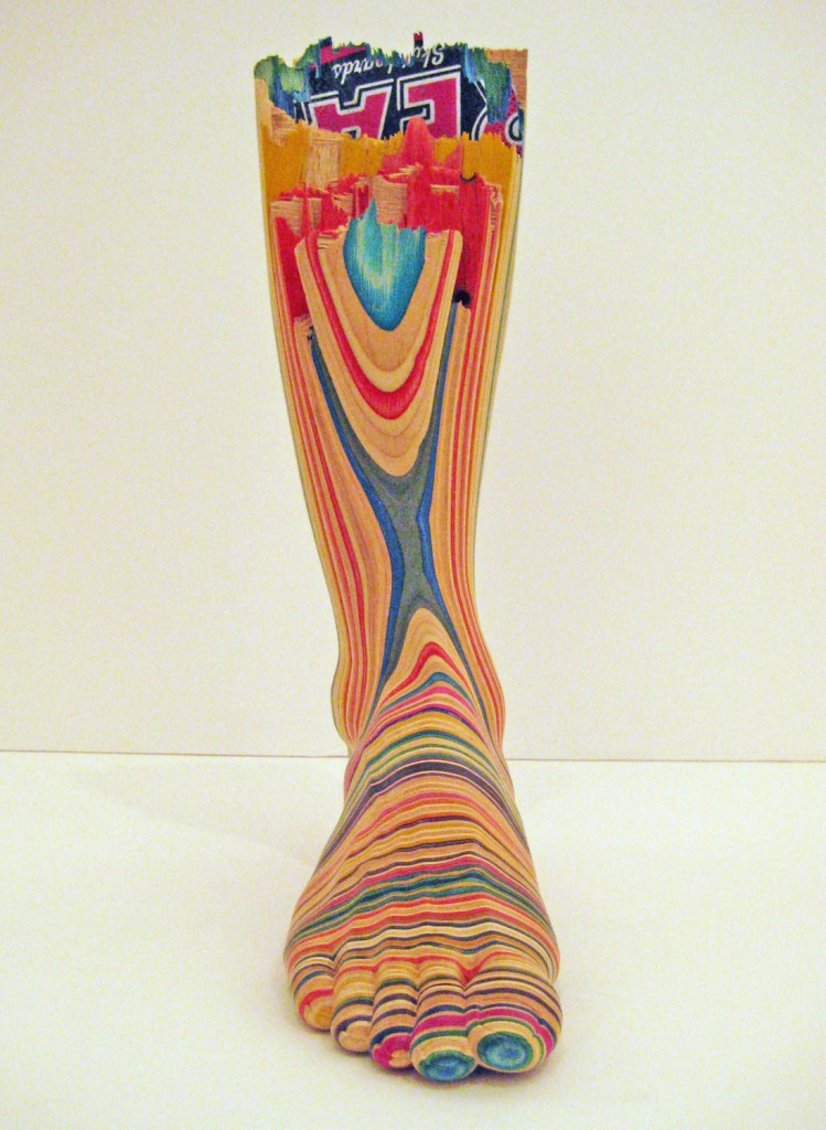 Haroshi  &nbsp -  <strong>Screaming Foot</strong> (2011<strong style = 'color:#635a27'></strong>)<bR /> used skateboards,   16.73 x 4.53 x 9.84 inches  (42.5 x 11.5 x 25 cm)