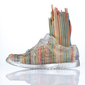 Haroshi   -  <strong>Foot with Invisible Shoe 1</strong> (2012<strong style = 'color:#635a27'></strong>)<bR /> used skateboards and epoxy resin,   9.25 x 4.75 x 11 inches  (23.5 x 12 x 28 cm)