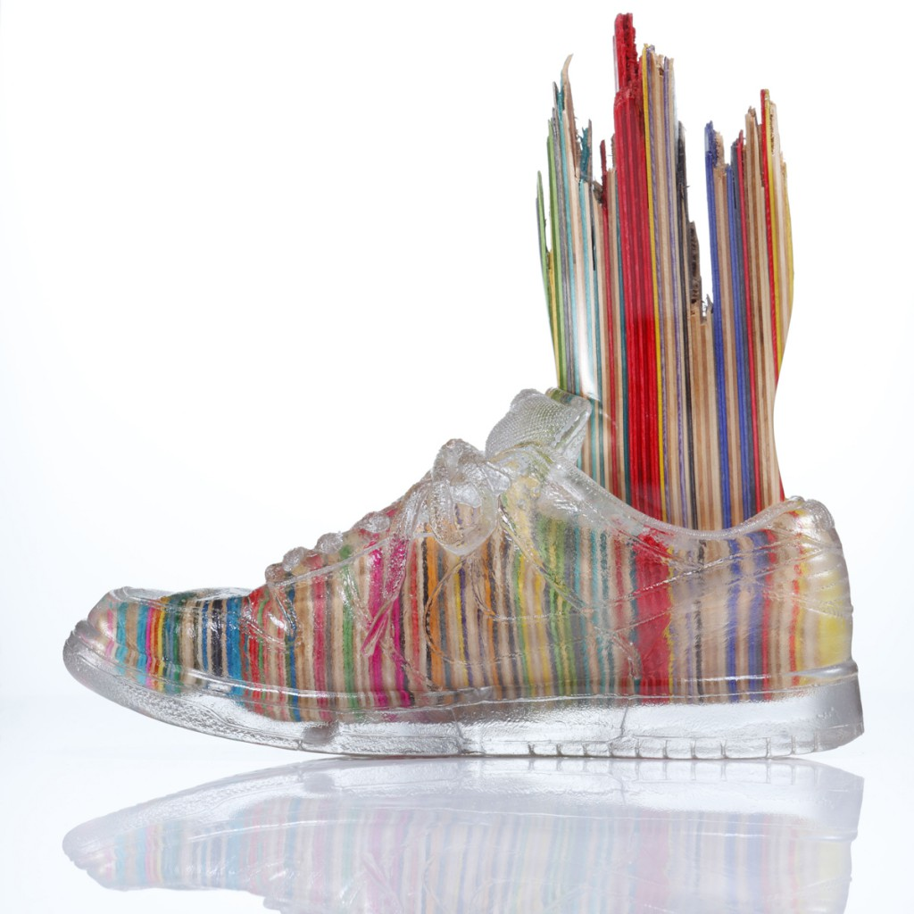 Haroshi  &nbsp -  <strong>Foot with Invisible Shoe 2</strong> (2012<strong style = 'color:#635a27'></strong>)<bR /> used skateboards and epoxy resin,   9.25 x 4.75 x 11 inches  (23.5 x 12 x 28 cm)