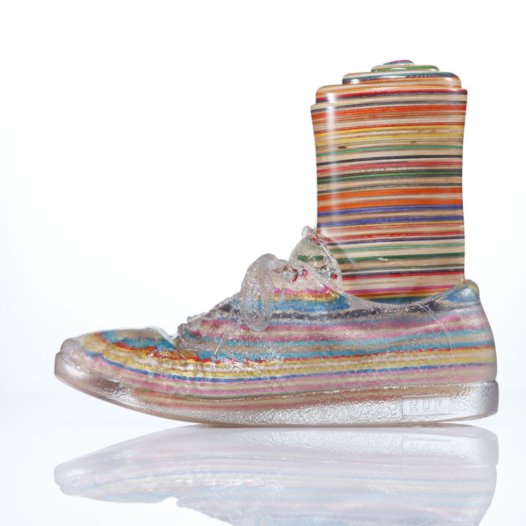 Haroshi  &nbsp -  <strong>Foot with Invisible Shoe 3</strong> (2012<strong style = 'color:#635a27'></strong>)<bR /> used skateboards and epoxy resin,   9.25 x 4.75 x 11 inches  (23.5 x 12 x 28 cm)