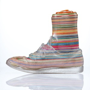 Haroshi   -  <strong>Foot with Invisible Shoe 4</strong> (2012<strong style = 'color:#635a27'></strong>)<bR /> used skateboards and epoxy resin,   9.25 x 4.75 x 11 inches  (23.5 x 12 x 28 cm)
