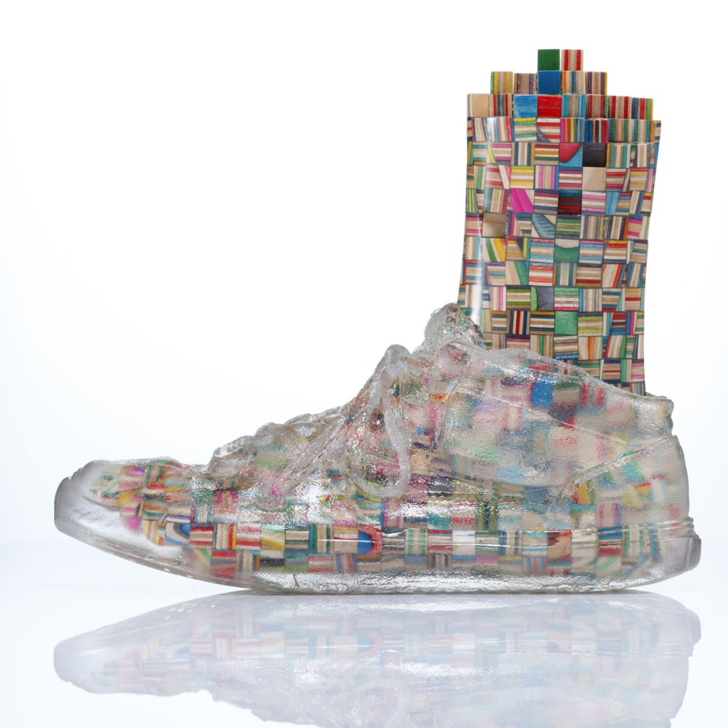 Haroshi  &nbsp -  <strong>Foot with Invisible Shoe 5</strong> (2012<strong style = 'color:#635a27'></strong>)<bR /> used skateboards and epoxy resin,   9.25 x 4.75 x 11 inches  (23.5 x 12 x 28 cm)