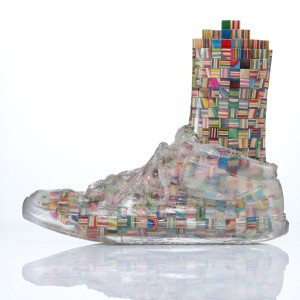 Haroshi    -  <strong>Foot with Invisible Shoe 5</strong> (2012<strong style = 'color:#635a27'></strong>)<bR /> used skateboards and epoxy resin,   9.25 x 4.75 x 11 inches  (23.5 x 12 x 28 cm)