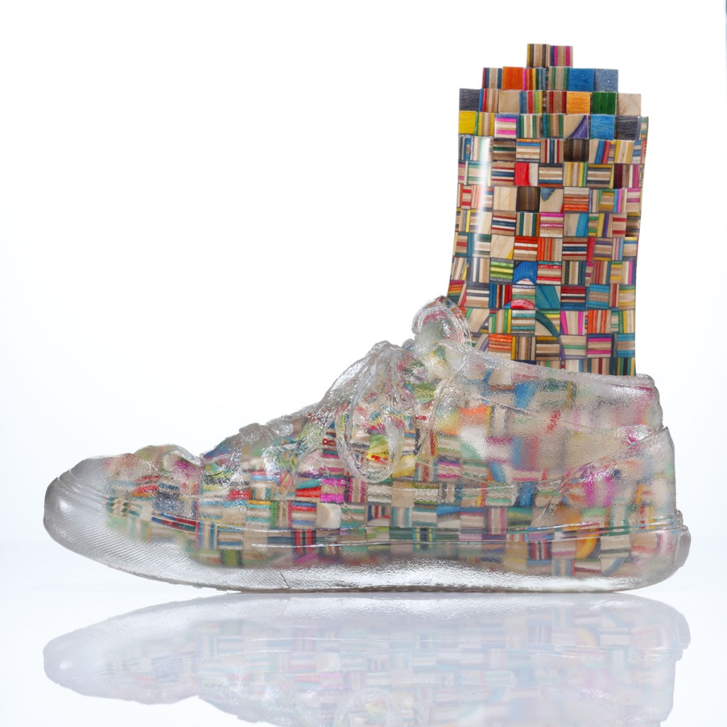 Haroshi  &nbsp -  <strong>Foot with Invisible Shoe 6</strong> (2012<strong style = 'color:#635a27'></strong>)<bR /> used skateboards and epoxy resin,   9.25 x 4.75 x 11 inches  (23.5 x 12 x 28 cm)