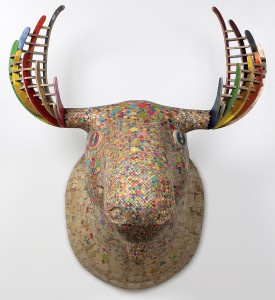 Haroshi    -  <strong>Moose</strong> (2010<strong style = 'color:#635a27'></strong>)<bR /> used skateboards,   54.33 x 57 x 43.3 inches  (138 x 145 x 110 cm)