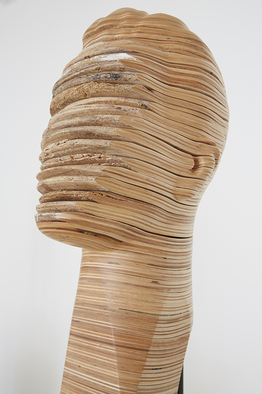Haroshi -  <strong>Nose Pick #3 (detail)</strong> (2014<strong style = 'color:#635a27'></strong>)<bR /> recycled skateboards, 25.62 x 9.87 x 9.87 inches, (65.07 x 25.06 x 25.06 cm)