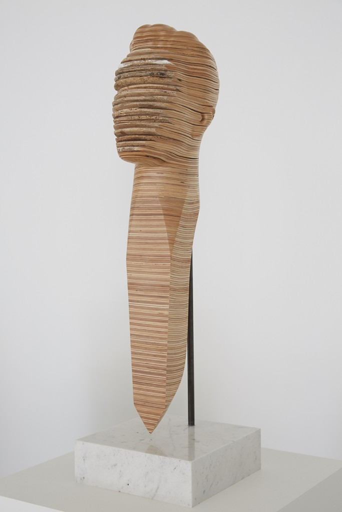 Haroshi -  <strong>Nose Pick #3 (side)</strong> (2014<strong style = 'color:#635a27'></strong>)<bR /> recycled skateboards, 25.62 x 9.87 x 9.87 inches, (65.07 x 25.06 x 25.06 cm)
