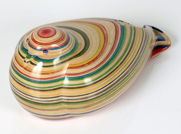 Haroshi  &nbsp -  <strong>Pigeon 1</strong> (2011<strong style = 'color:#635a27'></strong>)<bR /> used skateboards,   9 x 4.72 x 4.92 inches  (23 x 12 x 12.5 cm)