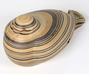 Haroshi   -  <strong>Pigeon 2</strong> (2011<strong style = 'color:#635a27'></strong>)<bR /> used skateboards,   9 x 4.72 x 4.92 inches  (23 x 12 x 12.5 cm)