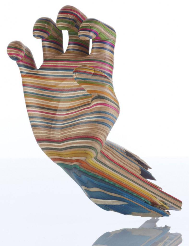 Haroshi  &nbsp -  <strong>Screaming Hand</strong> (2011<strong style = 'color:#635a27'></strong>)<bR /> used skateboards,   9.84 x 7 x 5.12 inches  (25 x 18 x 13 cm)
