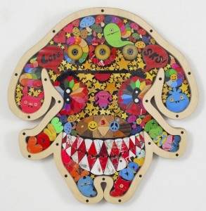 Haroshi  &nbsp -  <strong>Shy Peaco</strong> (2008<strong style = 'color:#635a27'></strong>)<bR /> used skateboards,   24.6 x 23.82 x 2.75 inches  (62.5 x 60.5 x 7 cm)