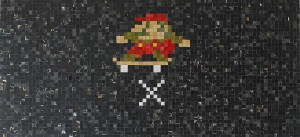 Haroshi  &nbsp -  <strong>Sk8 Ollie Mario</strong> (2009<strong style = 'color:#635a27'></strong>)<bR /> used skateboards,   17.75 x 38.5 x .75 inches  (45 x 97.79 x 1.9 cm)
