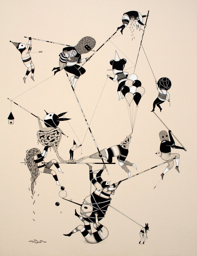 Hello Monsters  &nbsp -  <strong>Those Ropes (7)</strong> (2011<strong style = 'color:#635a27'></strong>)<bR /> india ink and ecoline on paper,   31.5 x 23.6 inches (80 x 60 cm)