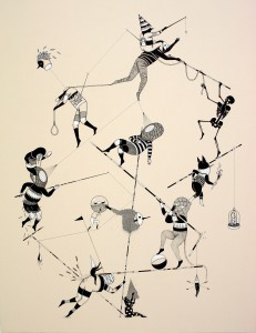 Hello Monsters   -  <strong>Those Ropes (8)</strong> (2011<strong style = 'color:#635a27'></strong>)<bR /> india ink and ecoline on paper,   31.5 x 23.6 inches (80 x 60 cm)
