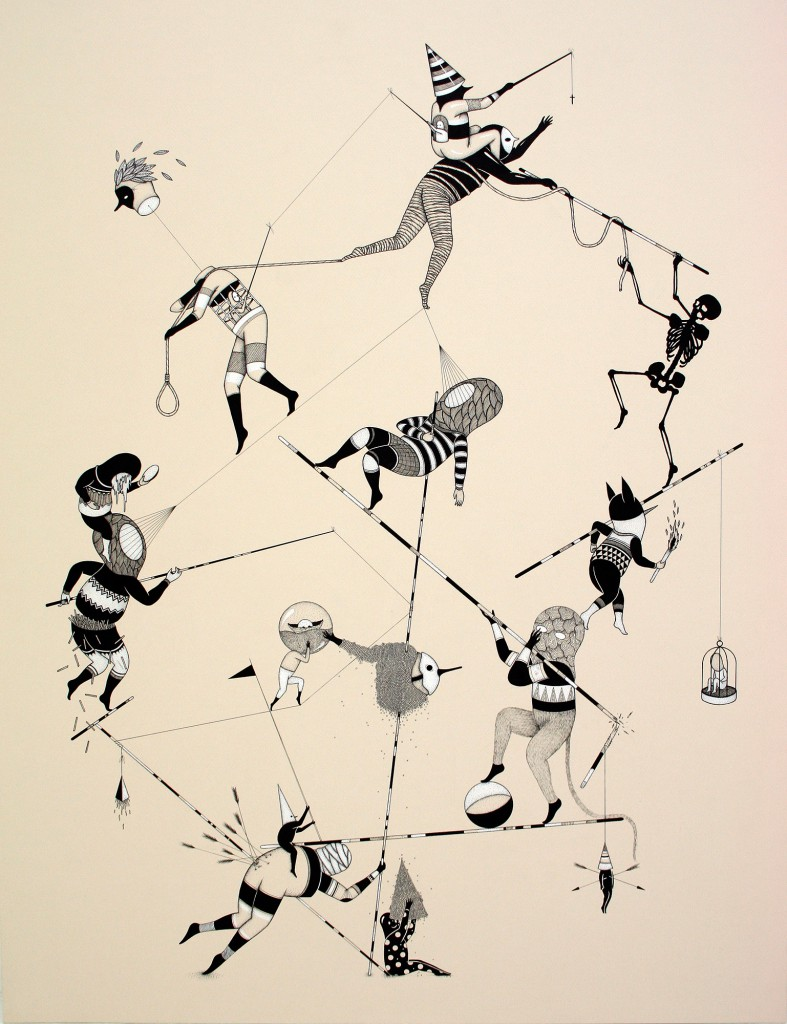 Hello Monsters  &nbsp -  <strong>Those Ropes (8)</strong> (2011<strong style = 'color:#635a27'></strong>)<bR /> india ink and ecoline on paper,   31.5 x 23.6 inches (80 x 60 cm)