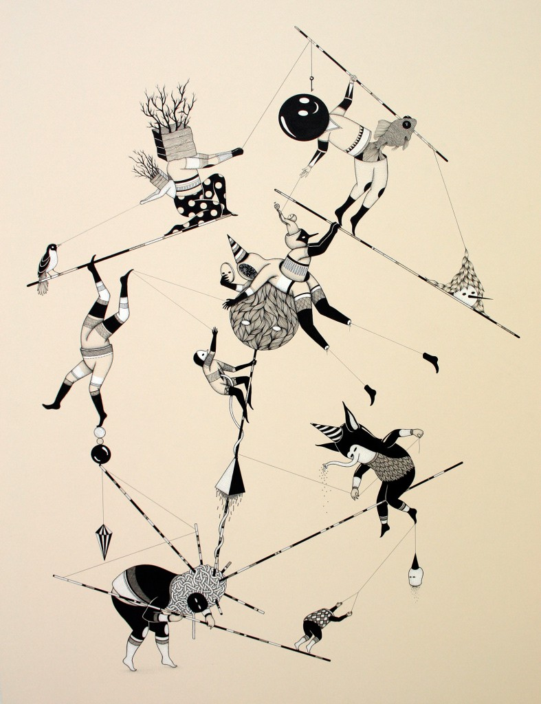 Hello Monsters  &nbsp -  <strong>Those Ropes (9)</strong> (2011<strong style = 'color:#635a27'></strong>)<bR /> india ink and ecoline on paper,   31.5 x 23.6 inches (80 x 60 cm)