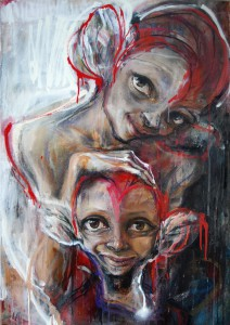 Herakut   -  <strong>Even a Fake Smile Made Her Happy</strong> (2011<strong style = 'color:#635a27'></strong>)<bR /> acrylic, spray paint and charcoal on canvas,   39.375 x 27.5 inches  (100 x 70 cm)