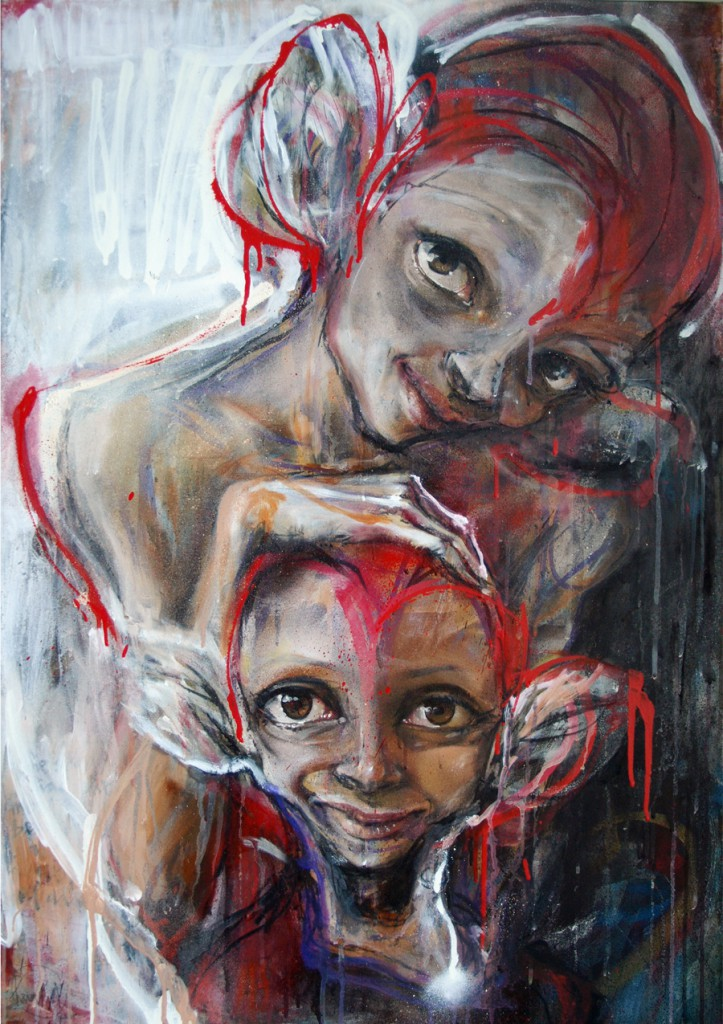 Herakut  &nbsp -  <strong>Even a Fake Smile Made Her Happy</strong> (2011<strong style = 'color:#635a27'></strong>)<bR /> acrylic, spray paint and charcoal on canvas,   39.375 x 27.5 inches  (100 x 70 cm)