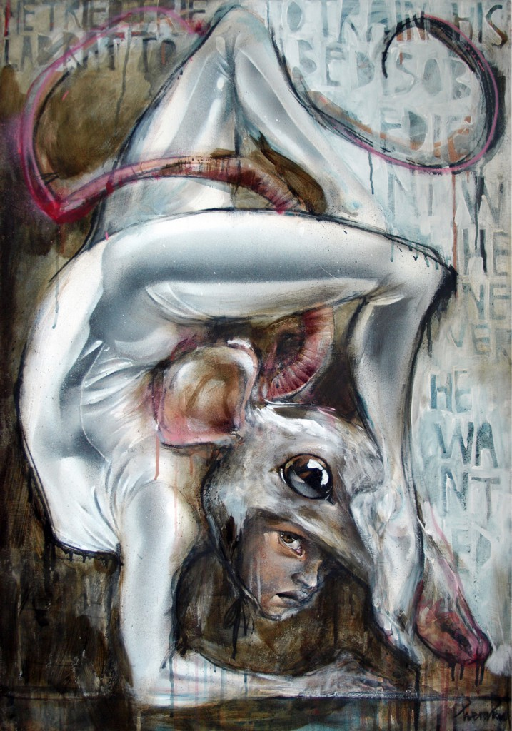 Herakut  &nbsp -  <strong>He Tried to Train His Lab Rat to be Disobedient</strong> (2011<strong style = 'color:#635a27'></strong>)<bR /> acrylic, spray paint and charcoal on canvas,   39.375 x 27.5 inches  (100 x 70 cm)