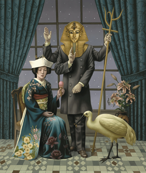 Alex  Gross -  <strong>Hierophant</strong> (2008<strong style = 'color:#635a27'></strong>)<bR /> Oil on Canvas,   Image Size: 62 x 53 inches  Framed Size: 68 1/2 x 59 1/2 inches