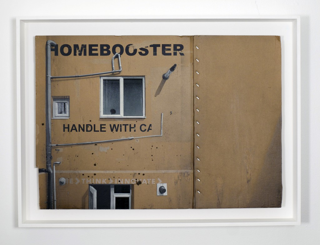 EVOL  &nbsp -  <strong>Homebooster</strong> (2014<strong style = 'color:#635a27'></strong>)<bR /> spray paint on cardboard,   26 x 36.38 inches  (66 x 92.5 cm)  30.92 x 41.55 inches, framed