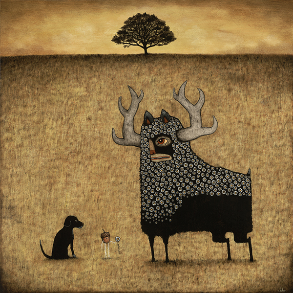 Andy  Kehoe -  <strong>Hope in the Future</strong> (2009<strong style = 'color:#635a27'></strong>)<bR /> acrylic and oil on panel,   image size: 30 x 30 inches,   framed size: 34 5/8 x 34 5/8 inches