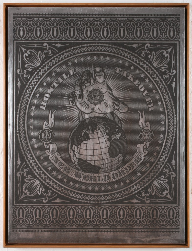Shepard Fairey -  <strong>Hostile Takeover (Black)</strong> (2007<strong style = 'color:#635a27'></strong>)<bR /> silkscreen on metal 18 x 24 inches