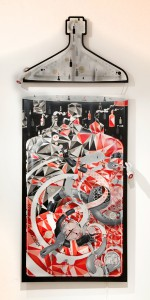 How & Nosm    -  <strong>Hands of Time</strong> (2012<strong style = 'color:#635a27'></strong>)<bR /> spray paint, india ink, cel vinyl, clock, resin sculpture, LED lights, wood, collage on canvas,   96 x 40 inches  (243.8 x 101.6 cm)
