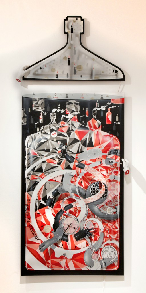 How & Nosm  &nbsp -  <strong>Hands of Time</strong> (2012<strong style = 'color:#635a27'></strong>)<bR /> spray paint, india ink, cel vinyl, clock, resin sculpture, LED lights, wood, collage on canvas,   96 x 40 inches  (243.8 x 101.6 cm)