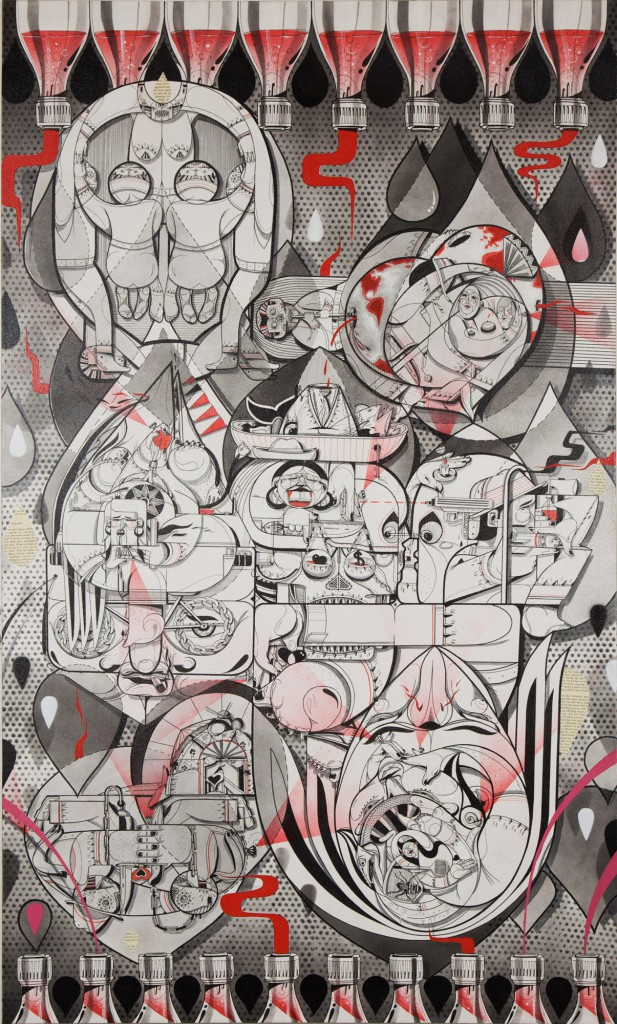 How & Nosm  &nbsp -  <strong>Balance of Opposites</strong> (2011<strong style = 'color:#635a27'></strong>)<bR /> acrylic, spray paint, india ink, cel vinyl paint and collage on canvas,   60 x 36 inches   (152.4 x 91.44 cm)