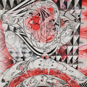 How & Nosm   -  <strong>Corazon Mio</strong> (2011<strong style = 'color:#635a27'></strong>)<bR /> acrylic, spray paint, india ink, cel vinyl paint and collage on canvas,   48 x 48 inches   (121.92 x 121.92 cm)