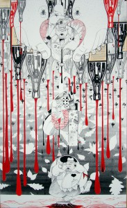 How & Nosm   -  <strong>Recycled Rain</strong> (2012<strong style = 'color:#635a27'></strong>)<bR /> acrylic, spray paint, india ink, cel vinyl paint and collage on canvas,   60 x 36 inches   (152.4 x 91.44 cm)