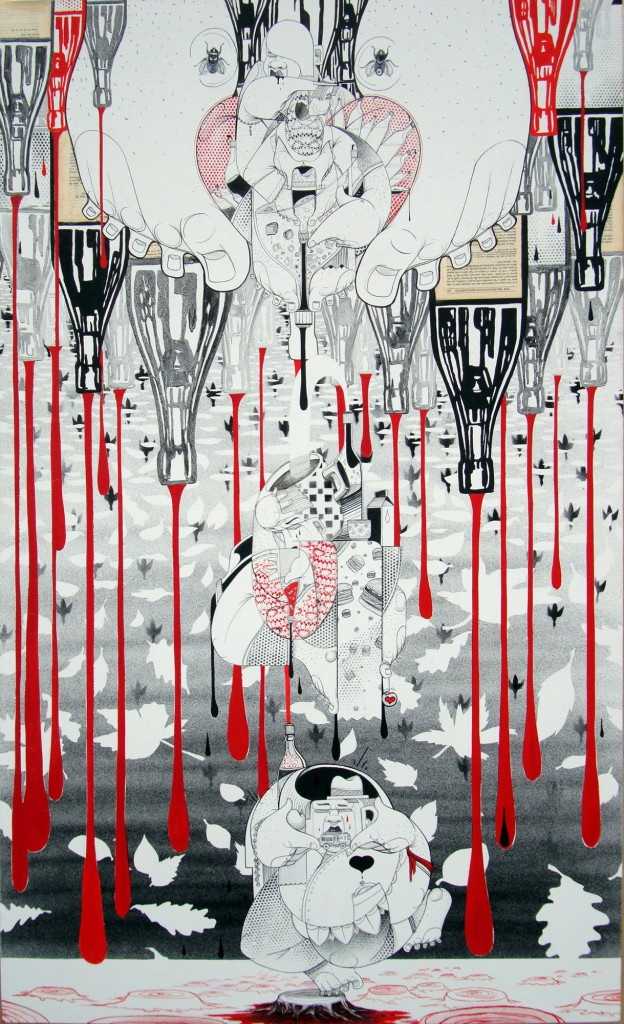 How & Nosm  &nbsp -  <strong>Recycled Rain</strong> (2012<strong style = 'color:#635a27'></strong>)<bR /> acrylic, spray paint, india ink, cel vinyl paint and collage on canvas,   60 x 36 inches   (152.4 x 91.44 cm)