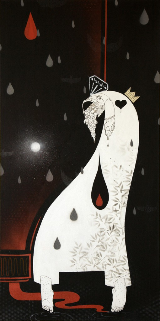How & Nosm  &nbsp -  <strong>Amor Puede Ser Agua Fria</strong> (2012<strong style = 'color:#635a27'></strong>)<bR /> spray paint, india ink, cel vinyl on canvas,   36 x 18 x 1.5 inches  (91.44 x 45.72 x 3.81 cm)