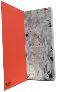 How & Nosm   -  <strong>Animal Instinct</strong> (2012<strong style = 'color:#635a27'></strong>)<bR /> spray paint, india ink, cel vinyl, collage on canvas and cardboard,   31 x 13 x 3.5 inches  (78.74 x 33 x 8.89 cm)