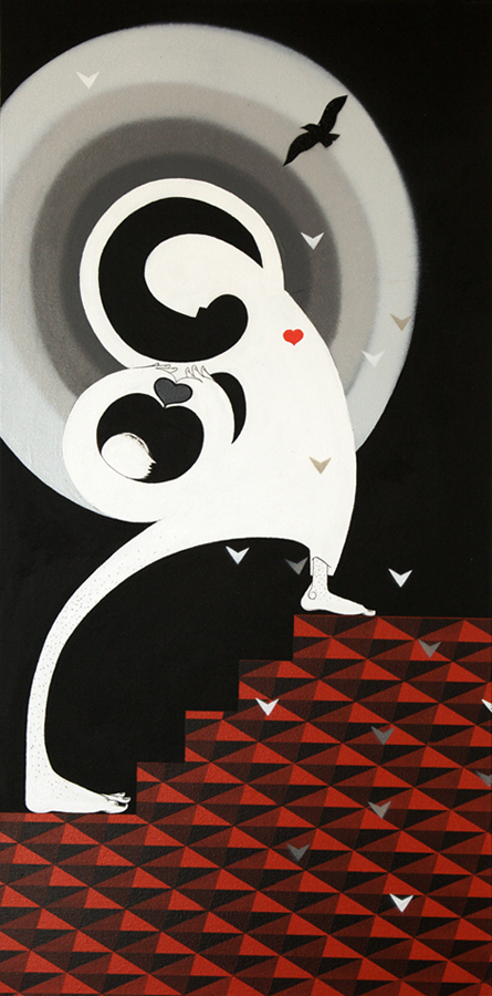How & Nosm  &nbsp -  <strong>Apology</strong> (20112<strong style = 'color:#635a27'></strong>)<bR /> spray paint, india ink, cel vinyl on canvas,   36 x 18 x 1.5 inches  (91.44 x 45.72 x 3.81 cm)
