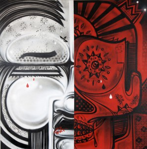 How & Nosm    -  <strong>Before and After</strong> (2011<strong style = 'color:#635a27'></strong>)<bR /> spray paint on canvas,   48 x 48 x 1 inches  (121.92 x 121.92 x 2.54 cm)