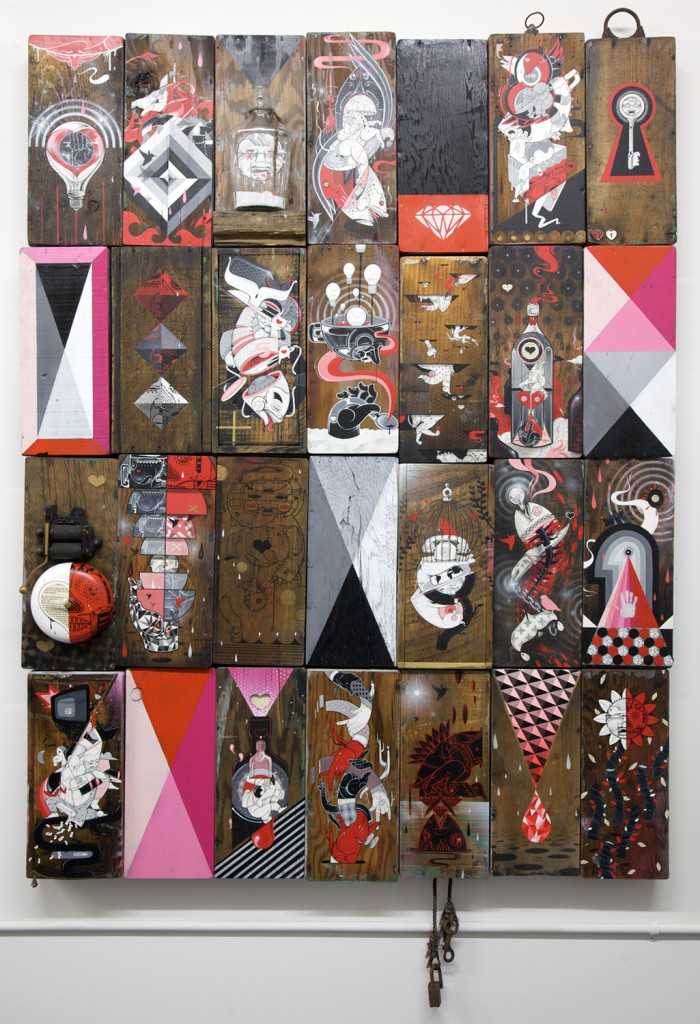 How & Nosm  &nbsp -  <strong>Draws</strong> (2012<strong style = 'color:#635a27'></strong>)<bR /> spray paint, india ink, cel vinyl, collage and found objects on wood,   61 x 47 x 3.5 inches  (154.94 x 119.38 x 8.89 cm)